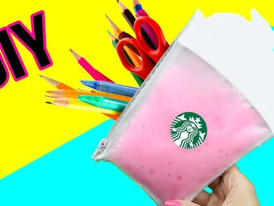 DIY LIQUID SLIME Starbucks Pencil Case! DIY School Supply Project!