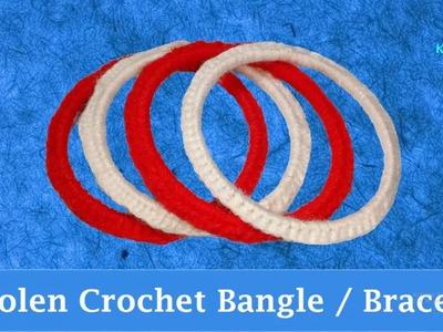 """DIY: Making Woolen. Yarn """"Crochet"""" Bangle - Happy Friendship Day Bracelet"""
