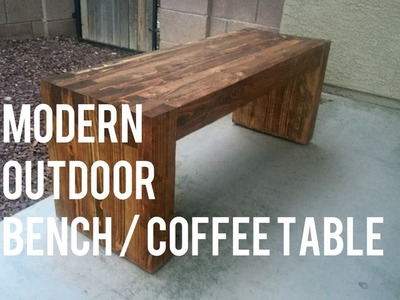 DIY Modern Outdoor Bench.Coffee Table -- 2x4s only