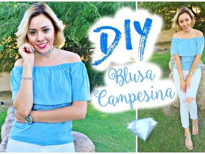 DIY OFF THE SHOULDER TOP EASY | TUTORIAL BLUSA CAMPESINA FACIL | ARELI DURAZO