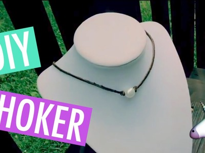 DIY Pearl Leather Choker Necklace!! Lariat Style