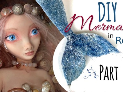 DIY Polymer Clay Mermaid Art Doll - Part 2 of 2 - Doll Mermaid Tail, Hair, & Resin Pond Tutorial