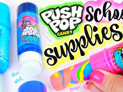 DIY Push Pop School Supplies - Eraser, Pencil Sharpener, & Glue Stick How To for Back-To-School