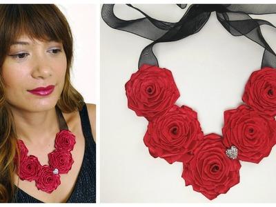 DIY Ribbon rose necklace