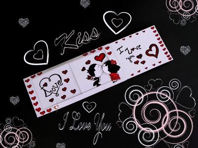 DIY SLIDER CARD (tutorial). DIY CARD KISS. LOVE MESSAGE. DIY CARD.