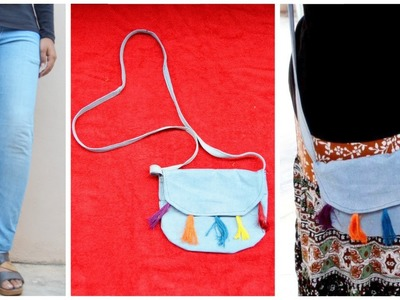 DIY Sling bag from OLD JEANS|| Upcycled Denim Sling bag|| Easiest way || GENERATION_DIY