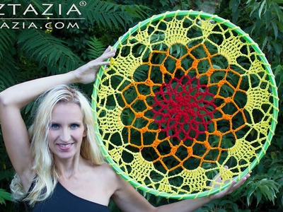 DIY Tutorial - How to Crochet Mandala Dreamcatcher - Sun Dream Catcher Hula Hoop Yarn Bomb Bombing
