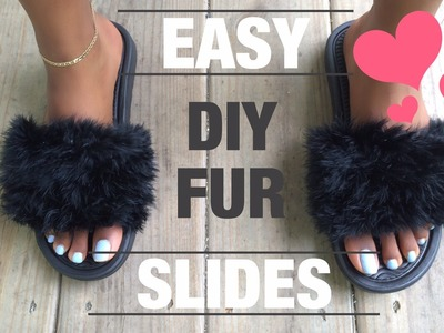 EASY!! DIY : FAUX FUR SLIDES UNDER $10