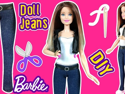 How to Make Barbie Doll Jeans - DIY Barbie Clothes Tutorial - Making Kids Toys