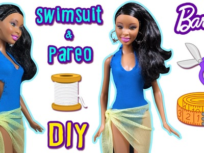How to Make Barbie Doll Swimsuit and Pareo - DIY Doll Clothes - Making Kids Toys