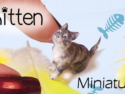 Miniature Cat Tutorial. Realistic Kitten Dollhouse DIY. SugarCharmShop