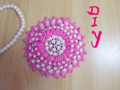 Ribbon flower.beaded flower tutorial;DIY