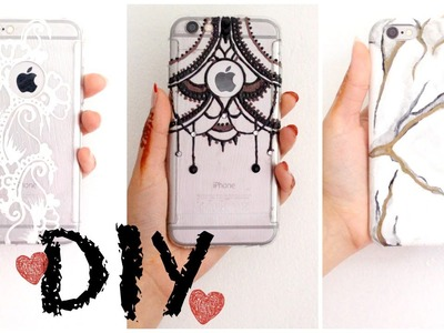 Summer DIY: Easy Phone Case Designs (Marble, White and Black henna)