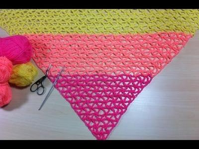 Chal tropical tejido a crochet muy facil. Châle tropical très simple au crochet
