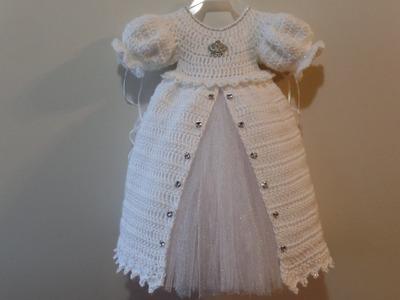 CROCHET How To #Crochet Baby Christening Gown Princess Dress TUTORIAL #330