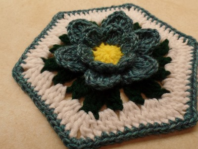 CROCHET How To #Crochet Blue Lotus Flower Granny Hexagon #TUTORIAL #329