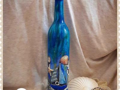 Decoupage sea bottle DIY ideas decorations craft tutorial