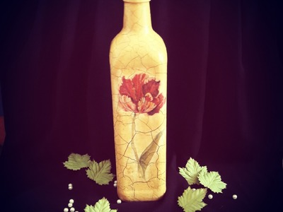 Decoupage shabby chic bottle with crackle varnish DIY antique vintage
