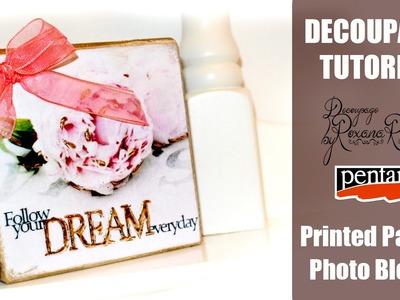 DIY Decoupage Tutorial - DIY Photo Block with Printed Paper , printed photo decoupage