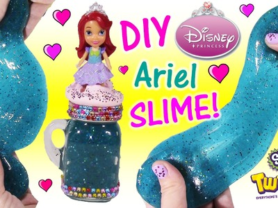 DIY Disney Princess ARIEL Glitter SLIME! Make Your Own Squishy Putty & Cute Jar! Happy Places! FUN