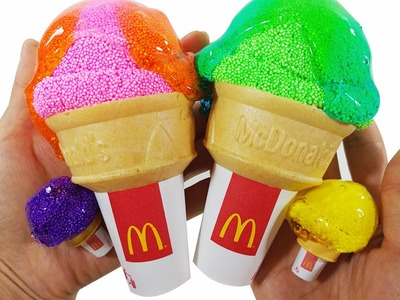 DIY How To Make McDonald's Big And Mini Ice Cream Color Forms Clay slime Toys