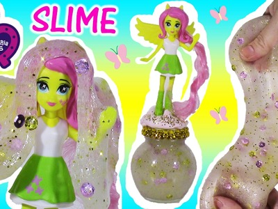 DIY MLP Equestria Girls GLitter SLIME! Make Your own Squishy  FLUTTERSHY Putty  JAR! Happy Places