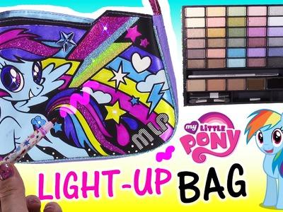 DIY MLP Rainbow Dash Light-UP BAG! Happy Places FUN School Supplies MAKEUP Notebook Scented PEN!