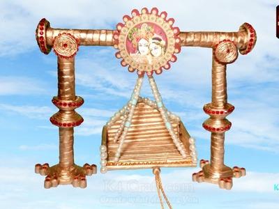 DIY: Newspaper Golden Color Fancy Lord Ganesha (Ganpati) temple for Ganesh Chaturthi -Part #2