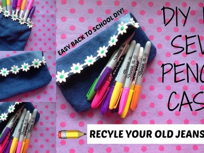 DIY NO SEW JEANS PENCIL CASE. POUCH! + NO ZIPPER! | Back To School DIYs 2016