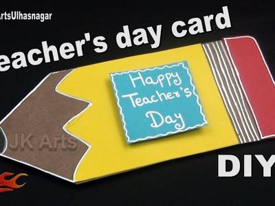 DIY Pencil Shape Teacher's Day Card Making Idea | JK Arts 1052 #TeachersDay