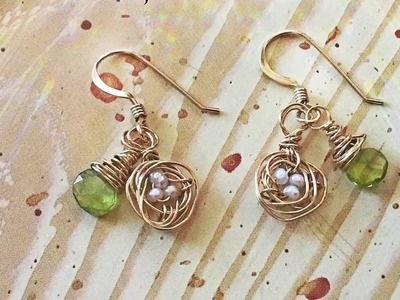 DIY Tiny Bird Nest Charm Earrings by Denise Mathew