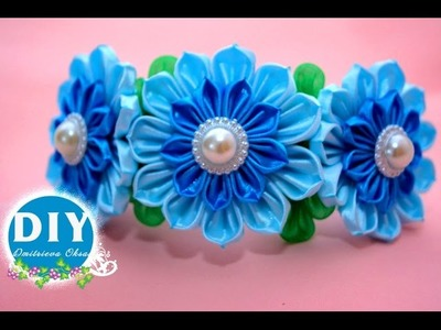 DIY tutorial kanzashi.Headrim with kanzashi flowers