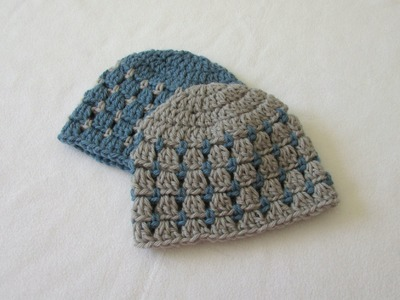 How to crochet a block stitch baby hat. beanie