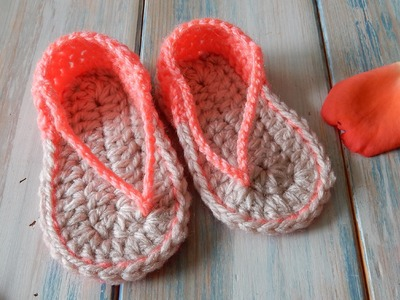 How to Crochet Baby Sandals FlipFlops - 0-6 months