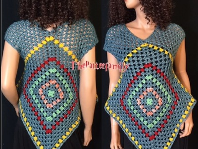 How to Crochet Granny Square Summer Top Pattern #30│by ThePatterfamily