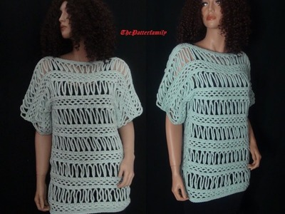 How to Crochet Striped Lace Blouse Pattern #27│by ThePatterfamily