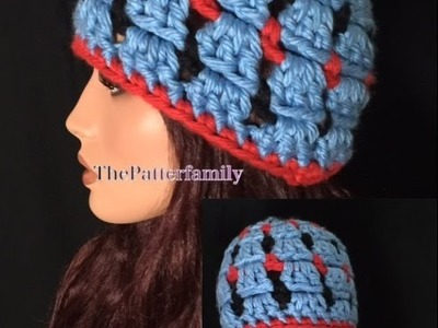 How to Crochet Tricolour Block Stitch Beanie Hat Pattern #58│by ThePatterfamily