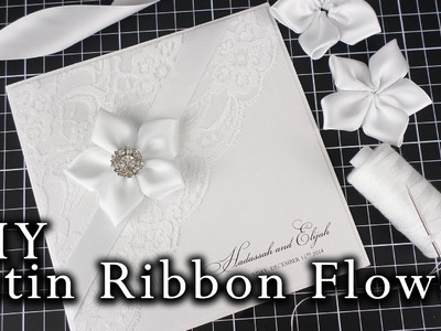 How to make a satin ribbon flower | Easy DIY flower for wedding invitations | DIY invitation
