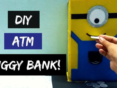 How to make ATM piggy bank at home! DIY piggy bank! ATM piggy bank for kids! Minions Inspired!