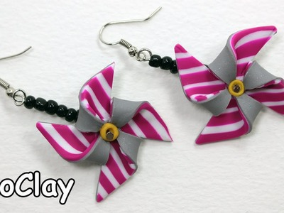 How to make DIY Pinwheel earrings - Polymer clay tutorial