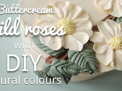 Relaxing cake decorating: buttercream flower cake with natural DIY food colour - wild roses