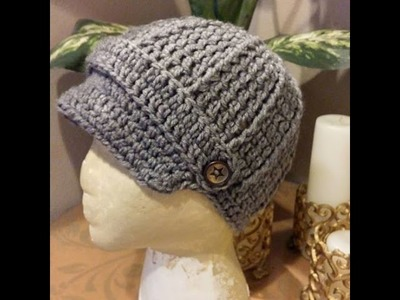 Tutorial How to Crochet a 9-12 month old baby Newsboy Beanie.