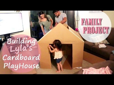Family Building A House Together | How To Build A Playhouse Out of Cardboard Box
