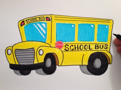 How to Draw a Cute School Bus