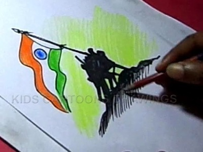 How to Draw Independence day Greeting Design Step by Step