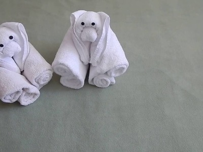 How to fold a Teddy Bear using towels.
