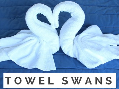 How to Fold A Towel Animal: Swan Towel Folding - 2 Birds & Heart in Resort, Hotel, Bed & Guest Room