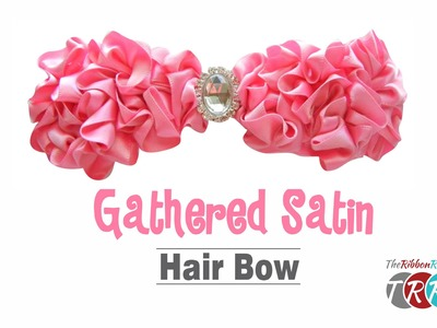 How to Make a Gathered Satin Ribbon Hair Bow - TheRibbonRetreat.com