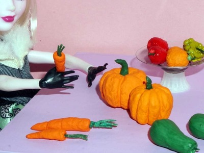 How to make a miniature pumpkin and carrot for dolls, barbies and others