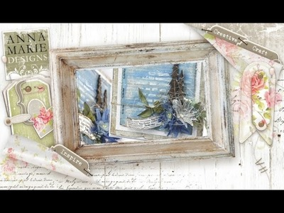 How to make a Shabby Chic Blue Christmas Card with Inka Gold Paint.
